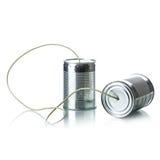 Tin cans telephone Stock Photos