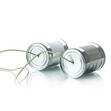 Tin cans telephone Royalty Free Stock Image