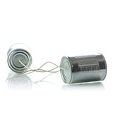Tin cans telephone. On white background Stock Image