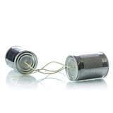 Tin cans telephone. On white background Royalty Free Stock Photo