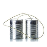 Tin cans telephone Stock Photos