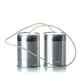 Tin cans telephone. On white background Stock Photos