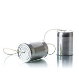 Tin cans telephone. On white background Stock Photography