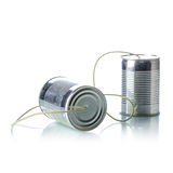 Tin cans telephone. On white background Stock Photo