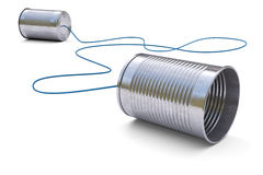 Tin cans telephone. On white background 3d royalty free stock photography