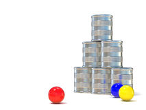 Tin cans and three balls. 3D illustration Royalty Free Stock Images