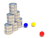 Tin cans and three balls. Side view. 3D Stock Photography