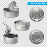 Tin Cans Transparent Set Vector Illustratie
