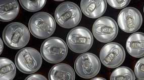 Tin cans viewed from above. Soda / beer/ cola tin cans, viewed from above Royalty Free Stock Images
