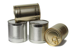 Tin Cans on White Royalty Free Stock Photo