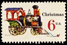 Tin and Cast Iron Locomotive Christmas Stamp. Tin and Cast Iron Locomotive was issued in 1970 to celebrate Christmas stock image