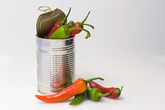 Tin of chillies Royalty Free Stock Photo