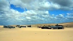 Tin City sur la plage de Stockton Images libres de droits