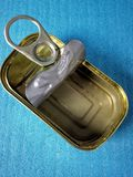 Tin. Closeup view of empty tin container used to store/preserve fish Stock Images