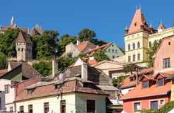 The Tin Coaters Tower and medieval roofs stock photo