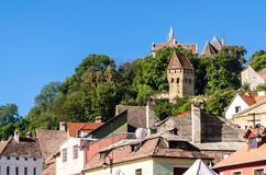 The Tin Coaters Tower and medieval roofs stock image