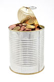 Tin with coins Royalty Free Stock Images