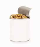 Tin with coins Stock Image