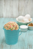 Tin of Colorful Confetti Cookies With Eggs and Sugars Royalty Free Stock Images