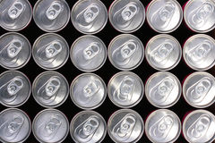 Tin containers. Background made of tin containers for water with gas - soda Stock Photography