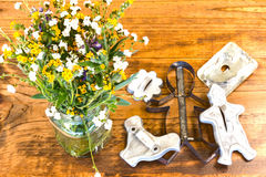 Tin Cookie Cutters und Blumen, die auf Holztisch sitzen lizenzfreies stockfoto