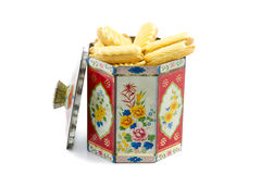 Tin cookie jar filled with cookies Royalty Free Stock Images