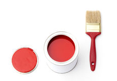 Tin, cover and paint brush. Tin with rad paint, cover and paint brush near the tin, isolated on white Stock Photo