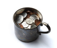Tin cup with money Royalty Free Stock Images