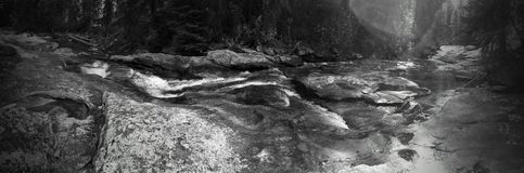 Tin Cup panorama. Black and white panoramic view of Tin Cup Creek Royalty Free Stock Photography