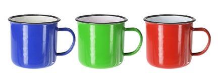 Tin Cups. On White Background Stock Photos