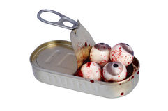 Tin of Eyes. Surreal images - Tin Of Eyeballs - bizarre image - allegory metaphor Stock Photo