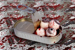 Tin Of Eyes. Surreal images - Tin Of Eyeballs - bizarre image - allegory metaphor Stock Image