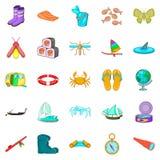 Tin fish icons set, cartoon style. Tin fish icons set. Cartoon set of 25 tin fish vector icons for web isolated on white background Royalty Free Stock Image