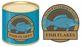 Tin of fish with label. Vector illustration of a tin of fish with label Royalty Free Stock Image