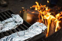 Free Tin Foil Dinners Cooking On A Metal Grill Over Campfire Royalty Free Stock Photo - 166870345