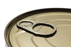 A tin food can close-up with selective focus Stock Photos
