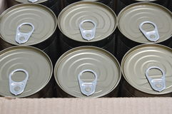 Tin food can in paper box Royalty Free Stock Photo