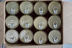 Tin food can in paper box Royalty Free Stock Photos