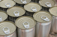 Tin food can on wood board Royalty Free Stock Image