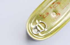 Tin food canned with opener inform on white background. Tin food canned with opener inform on the white background stock photography