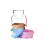 Tin food carrier with lid on white Stock Image