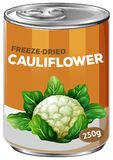 A tin of freeze dried cauliflower. Illustration vector illustration