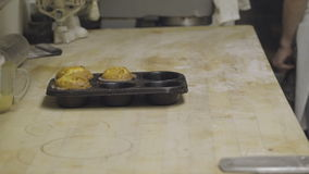 Tin of fresh made muffins. View of a tin of fresh made muffins stock footage