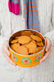 Tin of gingerbread biscuits Stock Photography