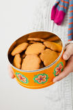 Tin of gingerbread biscuits Stock Images