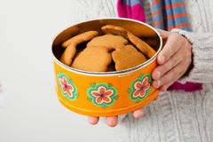 Tin of gingerbread biscuits Royalty Free Stock Photos