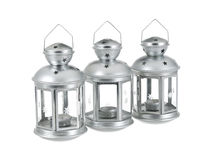 Tin grey metal lantern trio close row Stock Photo