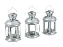 Tin grey metal lantern trio row Royalty Free Stock Image