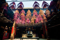 Tin Hau Temple Interior, Tempelstraat, Yaumatei, Hong Kong royalty-vrije stock foto