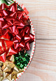Tin of Holiday Bows Stock Photos